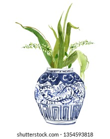 Hand Painted Watercolor Floral Illustration Flower Arrangements Tulip Bouquet in Chinese Blue and White Ginger Jars Floral Composition Just Leaves Small Pot