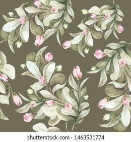Hand painted watercolor floral pattern with pink flowers and rose buds, foliage. Romantic seamless pattern perfect for fabric textile, vintage paper or scrapbooking, wedding invitations