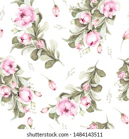 Hand painted watercolor floral pattern with pink flowers and rose buds, peony, foliage. Romantic seamless pattern perfect for fabric textile, vintage paper or scrapbooking