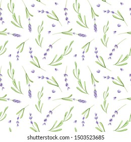 Hand painted watercolor flower seamless pattern. Floral fabric texture with lavender