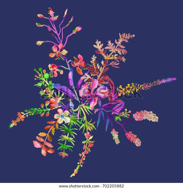 Hand painted watercolor flowers and plants on dark blue background. Autumn bouquet