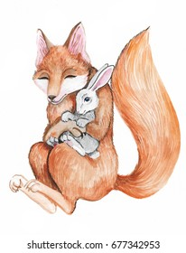 Hand painted watercolor fox with rabbit