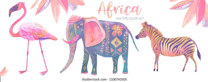 Hand painted watercolor and gouache collection of illustrations of wild African animals: flamingo, zebra, elephant