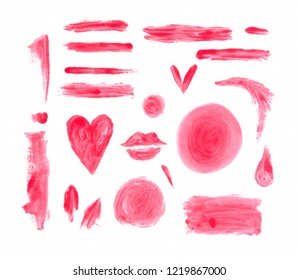 Hand painted watercolor graphic design element. Smeared brush strokes. Lip stick stains.