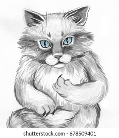 Hand painted watercolor grey cat