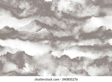 Hand painted Watercolor grey seamless pattern with abstract mountains, stone, sky. Watercolor texture.