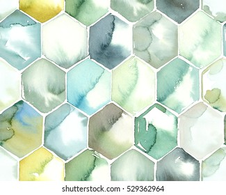Hand painted watercolor hexagon honeycomb allover seamless pattern