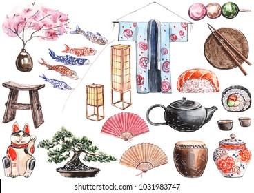 Hand painted watercolor illustration all about Japan set. Kimono, fans, fish, rice paper lanterns, bonsai, sakura, teapot, sushi, cat, drum.