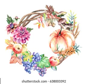 Hand painted watercolor illustration of autumn harvest wreath with fruits, vegetables, pumpkin, dahlia flowers, mushrooms and grapes on white background