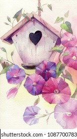 Hand painted watercolor illustration. The birdhouse and the bindweed.