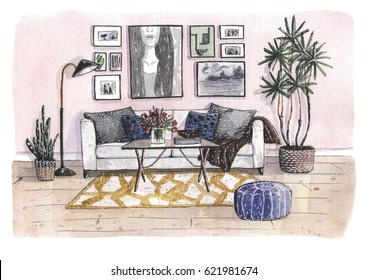 Hand painted watercolor illustration of the cozy living room with pink wall, wight sofa and pillows, plants in pots, yellow rug, wooden floor, posters on the wall, blue poof, floor lamp, coffee table.