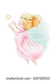 Hand painted watercolor illustration of cute cartoon angel flying to the sky for star. Angel wings.