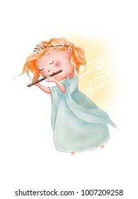 Hand painted watercolor illustration of cute cartoon angel playing in flute. Angel wings. Music
