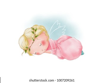 Hand painted watercolor illustration of cute cartoon sleeping angel. Angel wings. Sky