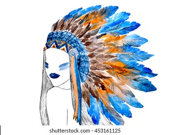 Hand painted watercolor illustration of girl in war bonnet