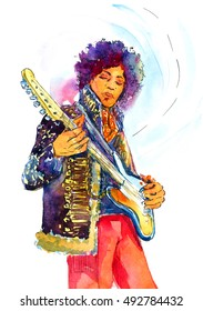 Hand painted watercolor illustration of Jimi Hendrix with Guitar
