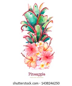 Hand painted watercolor illustration of pineapple with exotic flowers isolated on white background. The summer picture is perfect for printing, cards, posters and parties. The trend of an exotic summe