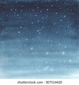 Hand painted watercolor illustration of a starry sky.