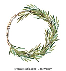 Hand painted watercolor illustration of wreath with branches of rosemary. Christmas wreath base
