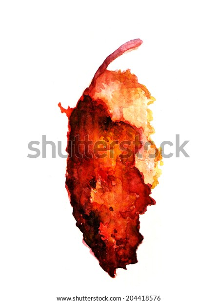 Hand painted watercolor image of autumn leaf