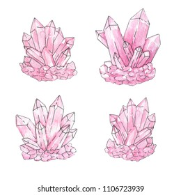 Hand painted watercolor and ink set of pink crystal clusters isolated on the white background. Quartz minerals illustration.