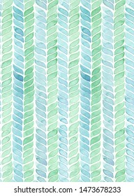 Hand painted watercolor knit alike turquoise and green geometric allover seamless pattern on white background