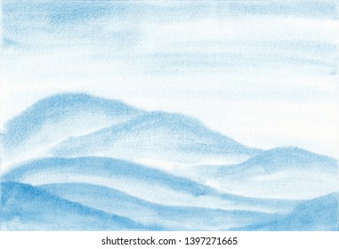 Hand painted watercolor landscape of pale vibrant abstract blue mountains peaks. Peaceful tranquil hand drawn nature background for relaxation, meditation and restoration.