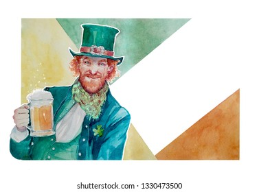 A hand painted watercolor leprechaun in a green suit, hand and scarf, holding a pint of beer in his dand, with a shamrock on his sleeve. An irish flag as background. St. Patrick's day artwork