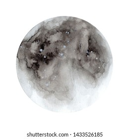 Hand painted watercolor moon phases. Full moon. Magic design for printing on textiles, packaging, cards, posters, covers. Isolated on white background. Astronomy and astrology, planet.
