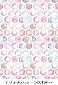 Hand painted watercolor multicolor hexagon honeycomb allover seamless pattern in repeat