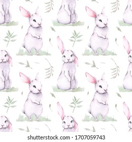 Hand painted watercolor pattern of forest cartoon cute baby rabbit animal with flowers and leaves. Woodland illustration.