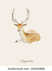 Hand painted watercolor poster with dappled deer in vintage retro style
