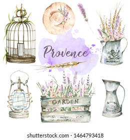Hand painted watercolor provence set - hat, a jug of lavender flowers, roses, ears, lantern, cell, bird cage, watercolor stain.