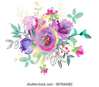 Hand painted watercolor purple pink floral round bouquet with mint leaves isolated on white background.