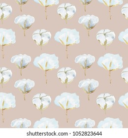 Hand painted watercolor rustical pattern with cotton flowers in modern farmhouse style with leaves and florals in boho stylistic.