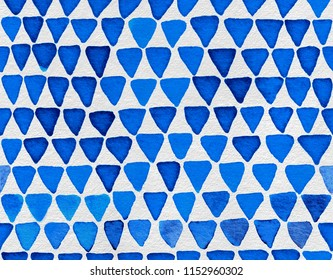 Hand painted watercolor seamless pattern with indigo blue triangles. Abstract modern background, illustration. Perfect for fabric, textile, wallpaper, wrapping paper, stationery, prints, scrapbooking.