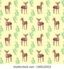 Hand painted watercolor seamless pattern of cute deer in eucalyptus. Concept for card, baby shower invitation, nursery decor, wallpaper, textile, fabric, scrapbooking or stationery design.