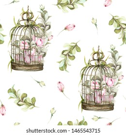 Hand painted watercolor seamless pattern with bird cage with pink flowers-peony and leaves. Provence style