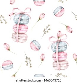 Hand painted watercolor seamless pattern with macaroons and pink flowers and rose buds.