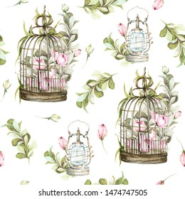 Hand painted watercolor seamless pattern with bird cage with pink flowers-peony,  leaves, lantern. Provence style