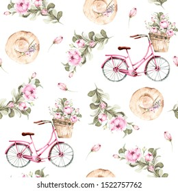 Hand painted watercolor seamless pattern with hat, peony flowers, pink bicycle with a basket of flowers. Provence style