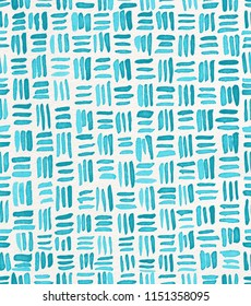 Hand painted watercolor seamless repeat turquoise crosshatch basket weave pattern. Abstract modern background, illustration. Perfect for fabric, textile, wallpaper, wrapping paper, stationery, prints.