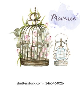 Hand painted watercolor set - bird cage with pink flowers-peony and leaves on the background of watercolor stain and lantern. Provence style