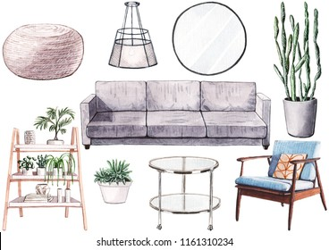 Hand painted watercolor set of casual home furniture. Gray sofa, round mirror, glass coffee table, plants in pots, blue mid-century armchair, wooden shelving.