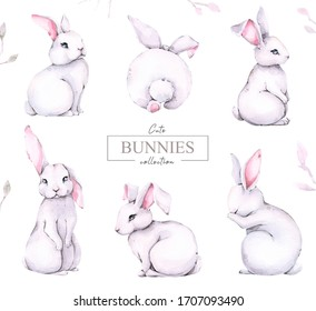 Hand painted watercolor set of forest cartoon isolated cute baby rabbit animal with flowers and leaves. Woodland illustration, isolated on white background.