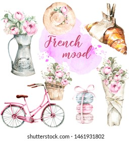Hand painted watercolor set from France - croissant, macaroon, bouquet of flowers of peony, hat, pink bicycle with basket and flowers, watercolor stain.