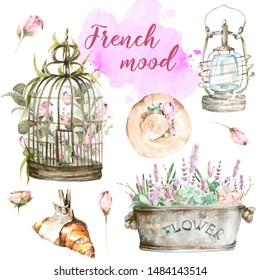 Hand painted watercolor set from France - croissant, birdcage with flowers of peony, hat, lantern, basket and flowers, watercolor stain.