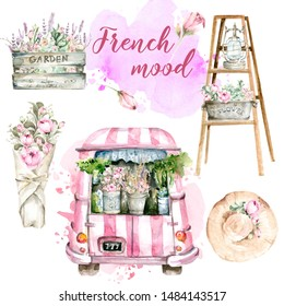 Hand painted watercolor set from France - pink car truck with flowers on the background of watercolor stain, ladder with lantern and flowers, bouquet if peony, wooden box with lavander.