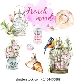 Hand painted watercolor set from France - croissant, birdcage with flowers of peony, hat, lantern, jug and flowers, watercolor stain.