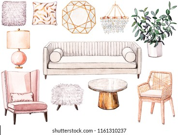 Hand painted watercolor set of glamour home furniture. Sofa, pink armchair, wicker chair, brass and marble coffee table, mirror, pillows, pink table lamp, crystal chandelier, home plant, sheepskin